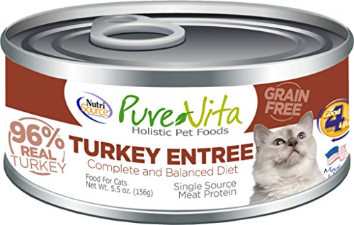 Pure Vita 96% Grain Free Turkey & Turkey Liver Entrée Cat 12/5 oz