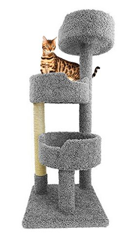 Cozycatfurniture Cat Tower For Large Cats In Gray Carpet 52 Inch Tall Kitty Tree Three Beds