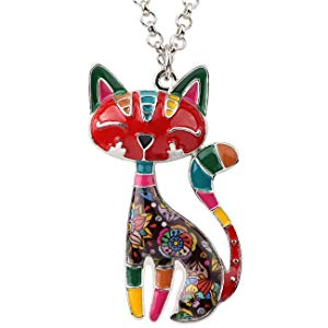 A Bold, Colorful Cat Pendant Necklace