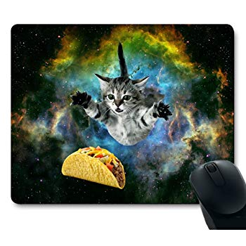 Cat Flying Through Space Reaching for a Taco in Galaxy Mouse Pad