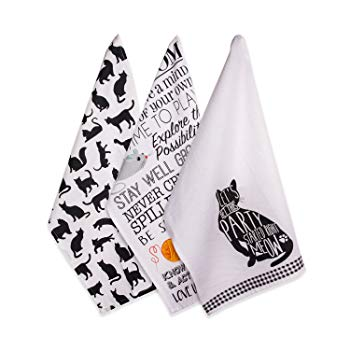 DII Cotton Decorative Pet Lover Dish Towel 18 x 28 Set of 3, Oversized Kitchen Dish Towels, Perfect Mother's Day, Hostess