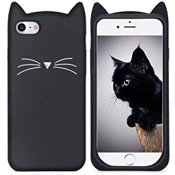 iPhone 6S Case, MC Fashion Cute 3D Black MEOW Party Cat Kitty Whiskers Soft