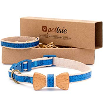Pettsie Cat Collar Breakaway Safety with Bow Tie and Friendship Bracelet for You