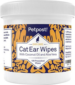 Petpost Ear Wipes with Coconut Oil & Aloe Vera For Cats, 100 count