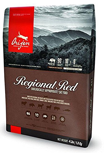 Orijen Regional Red Dry Cat Food 4# Bag With Beef, Goat, Boar, Lamb, Pork and Wild Mackerel