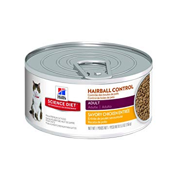 Hill's Science Diet Adult Wet Cat Food, Hairball Control Savory Chicken Entrée Minced Canned Cat Food