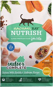 Rachael Ray Nutrish Indoor Complete Chicken with Lentils & Salmon Recipe Natural Dry Cat Food