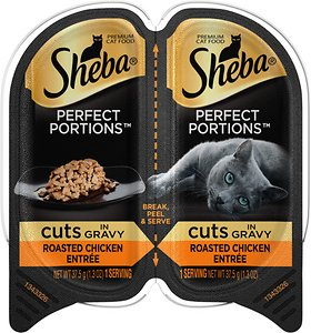 Sheba Perfect Portions Grain-Free Roasted Chicken Cuts in Gravy Entree Cat Food Trays