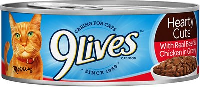9Lives Hearty Cuts with Real Beef & Chicken in Gravy Canned Cat Food
