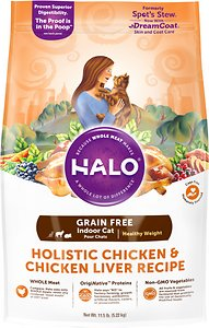 Halo Holistic Chicken & Chicken Liver Recipe Grain-Free Healthy Weight Indoor Cat Dry Cat Food