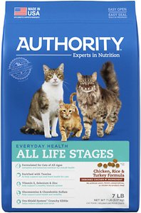 Authority Chicken, Rice & Turkey Formula Dry Cat Food, 7-lb bag