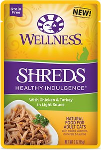 Wellness Healthy Indulgence Shreds with Chicken & Turkey in Light Sauce Grain-Free Cat Food