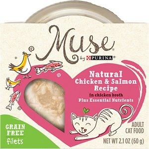 Purina Muse Natural Grain-Free Filets Wet Cat Food Trays, Chicken & Salmon Recipe in Chicken Broth