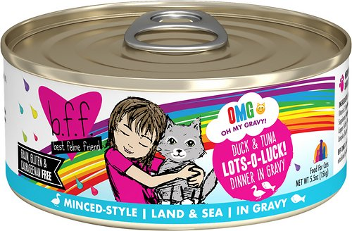 BFF OMG Lots-O-Luck! Duck & Tuna Dinner in Gravy Grain-Free Canned Cat Food
