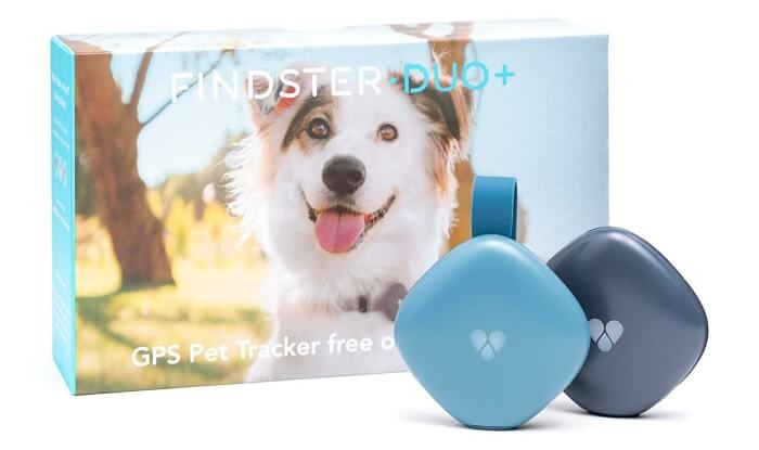 Findster Duo+ Pet Tracker Free of Monthly Fees - GPS Tracking Collar for Dogs and Cats & Pet Activity Monitor