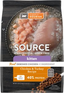 Simply Nourish Source Chicken & Turkey Recipe High-Protein Grain-Free Kitten Dry Cat Food