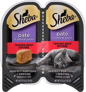Sheba Perfect Portions Grain-Free Tender Beef Entree Cat Food Trays