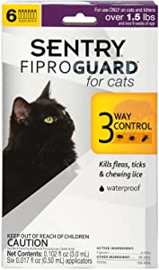 Sentry Fiproguard Flea and Tick Topical for Cats