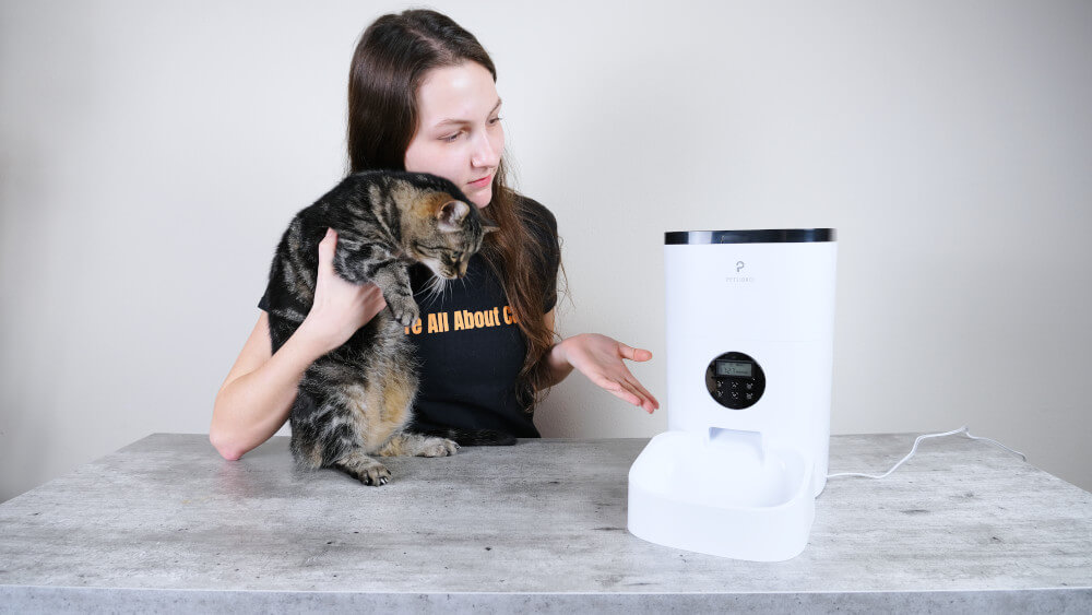 Showing Forest the Petlibro automatic cat feeder